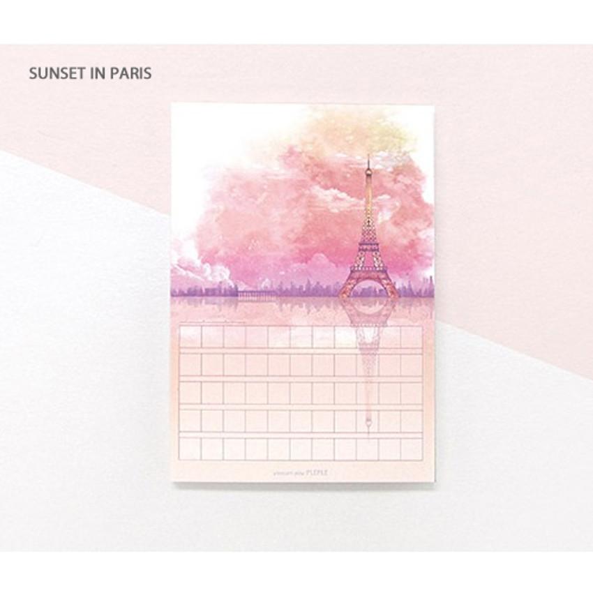 Sunset in paris - Pleple My story illustration squared manuscript memo notepad