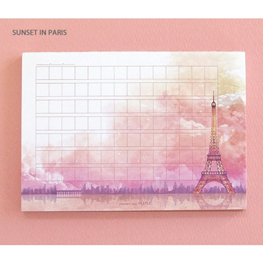 Sunset in paris - Pleple My story illustration wide squared manuscript memo notepad