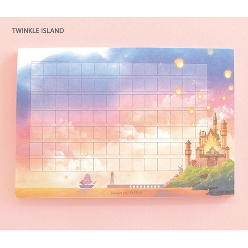 Twinkle island - Pleple My story illustration wide squared manuscript memo notepad