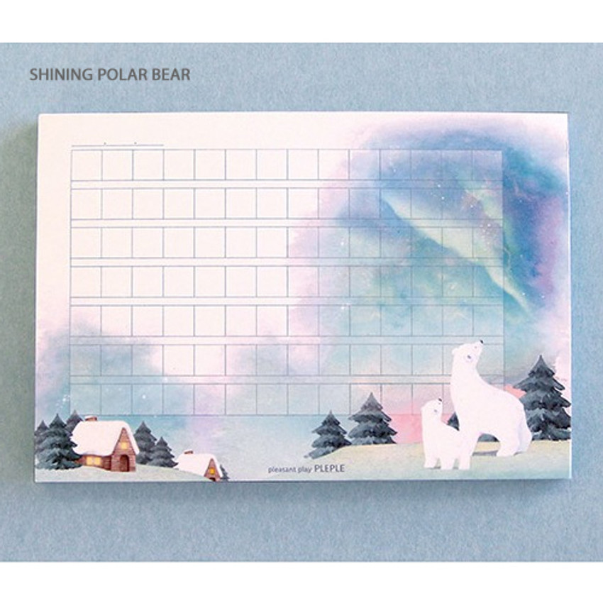 Shining polar bear - Pleple My story illustration wide squared manuscript memo notepad