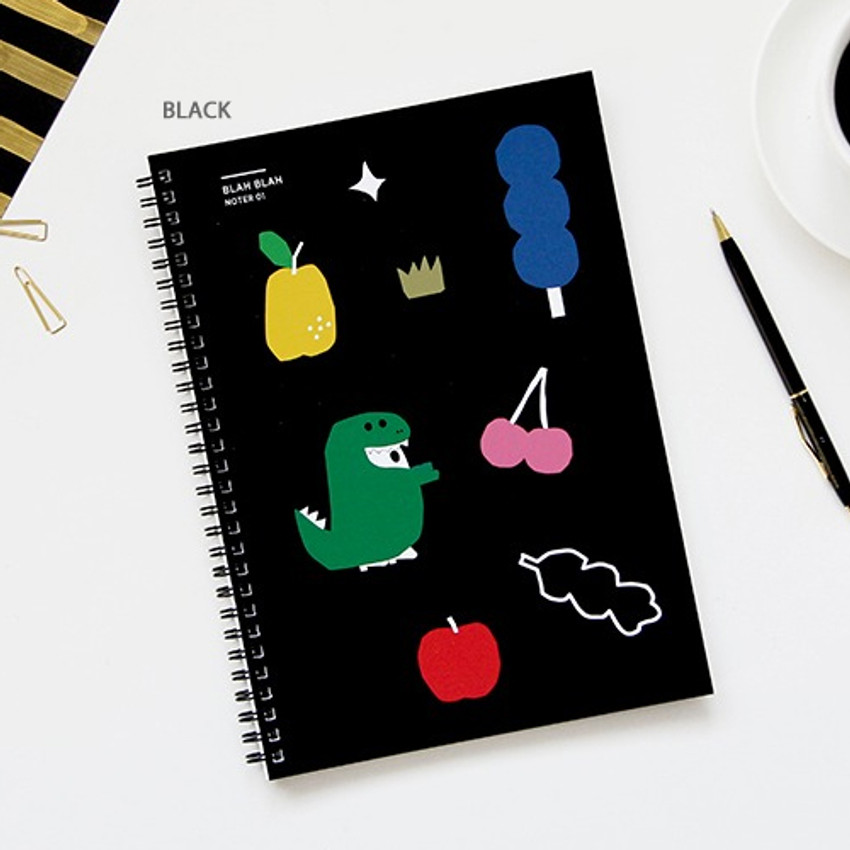 Black - Gungmangzeung Ghost pop spiral bound plain notebook