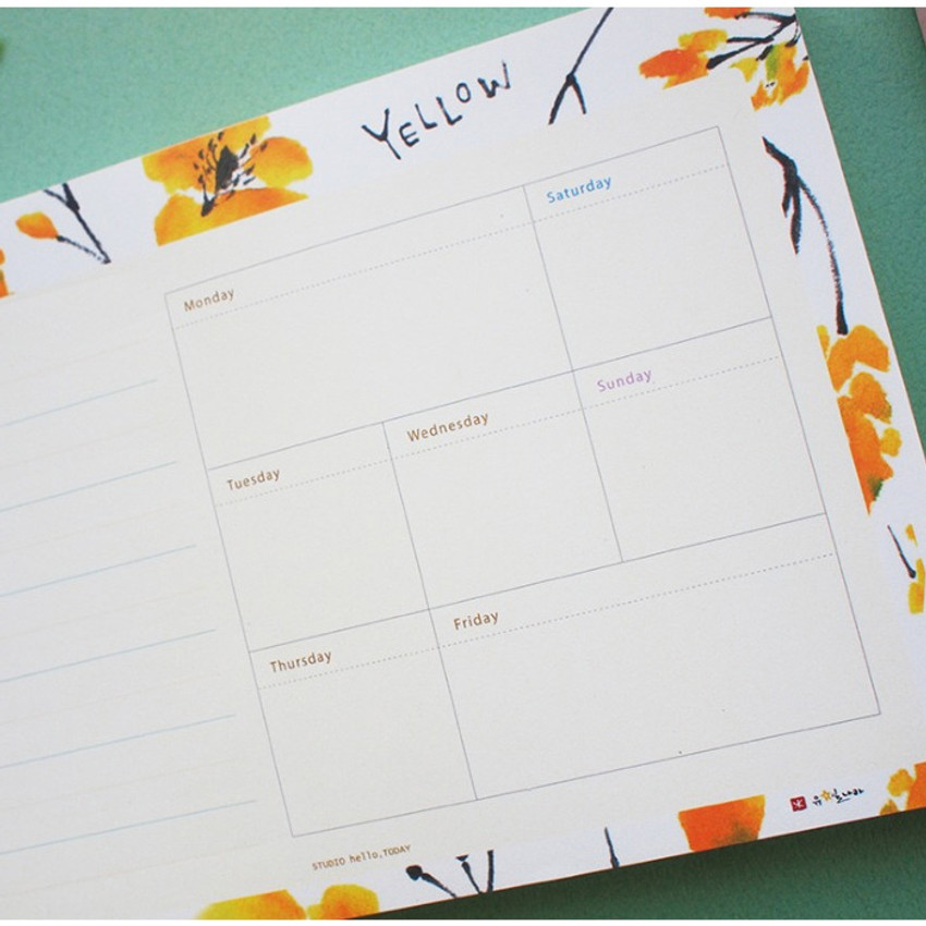 Yellow - Hello Today A planner on a desk undated weekly scheduler notepad