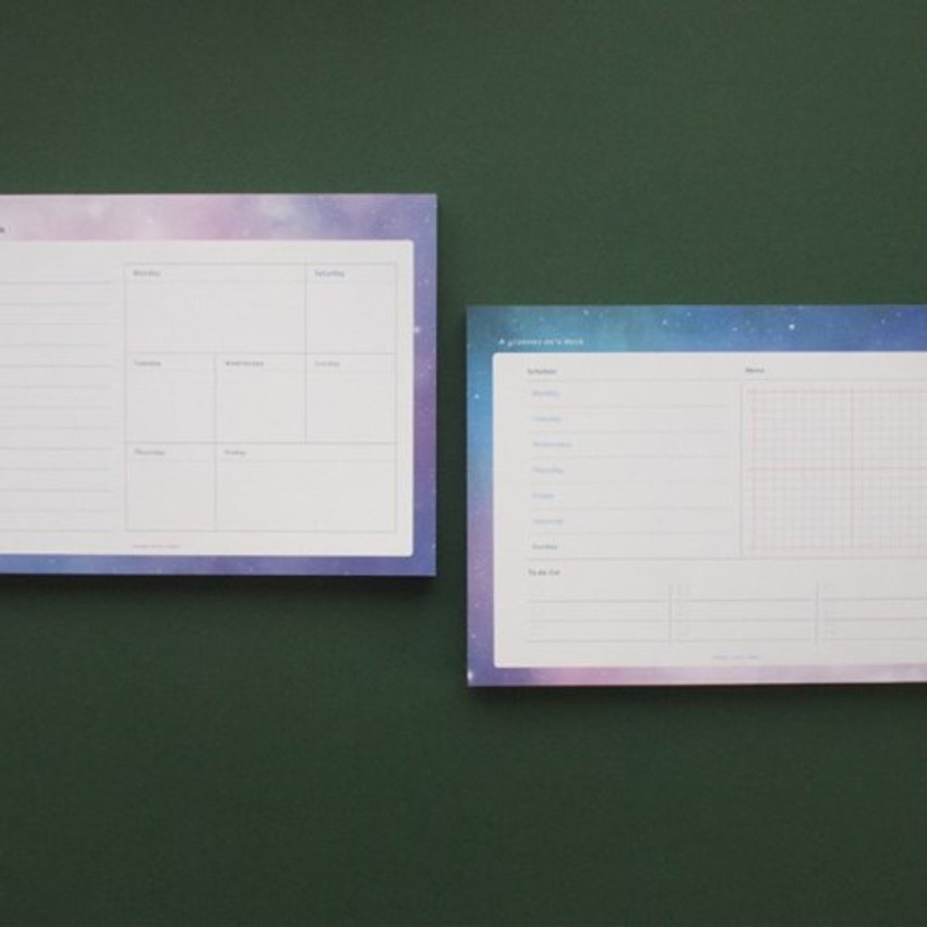 Hello Today Universe on a desk undated weekly planner notepad