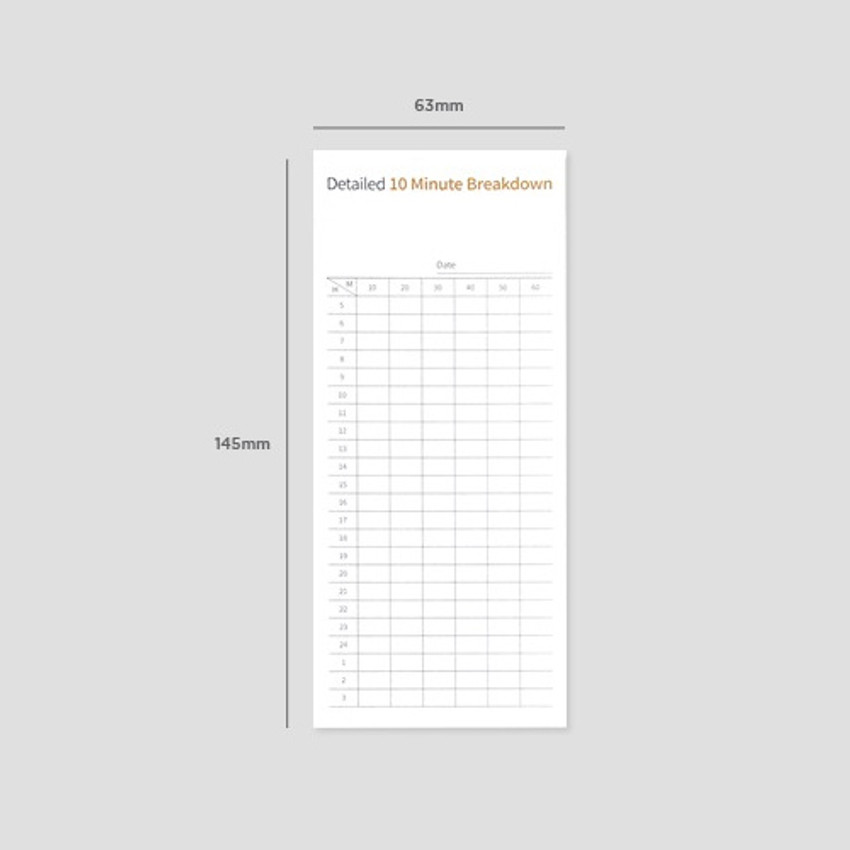 Size - Gungmangzeung The Memo detailed 10 minute breakdown planner notepad