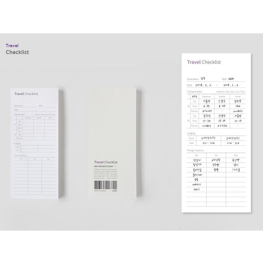 Gungmangzeung The Memo Travel checklist planner notepad