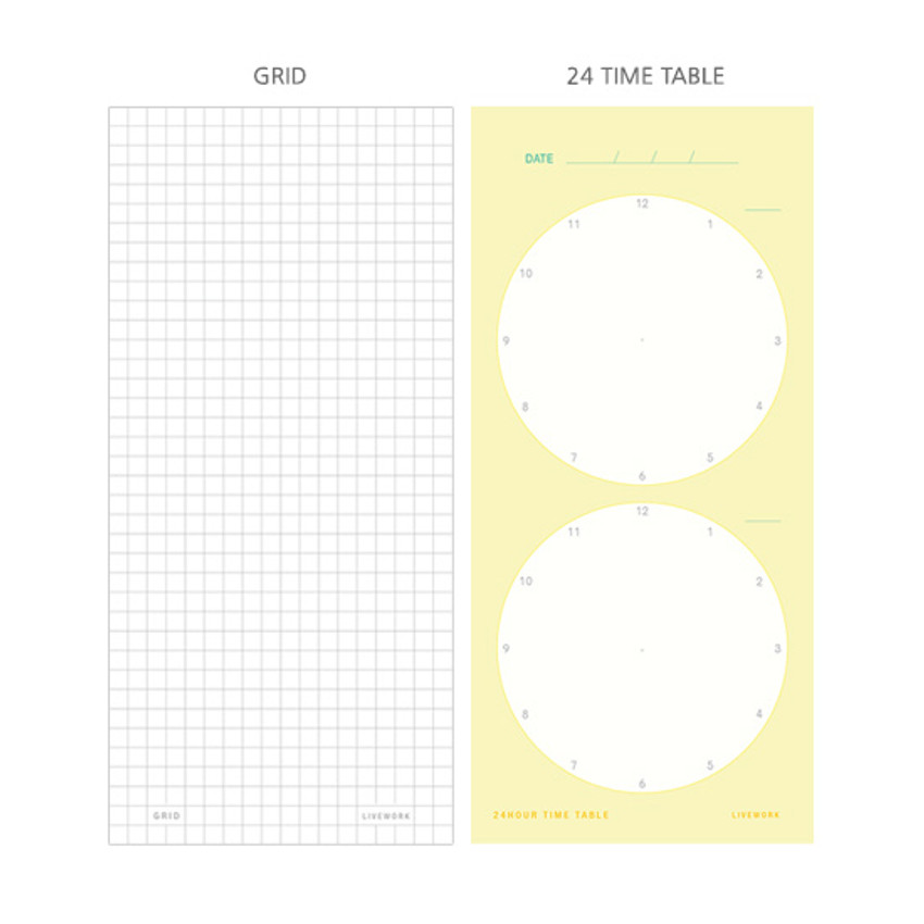 Memory planning notepad - Grid, Time table