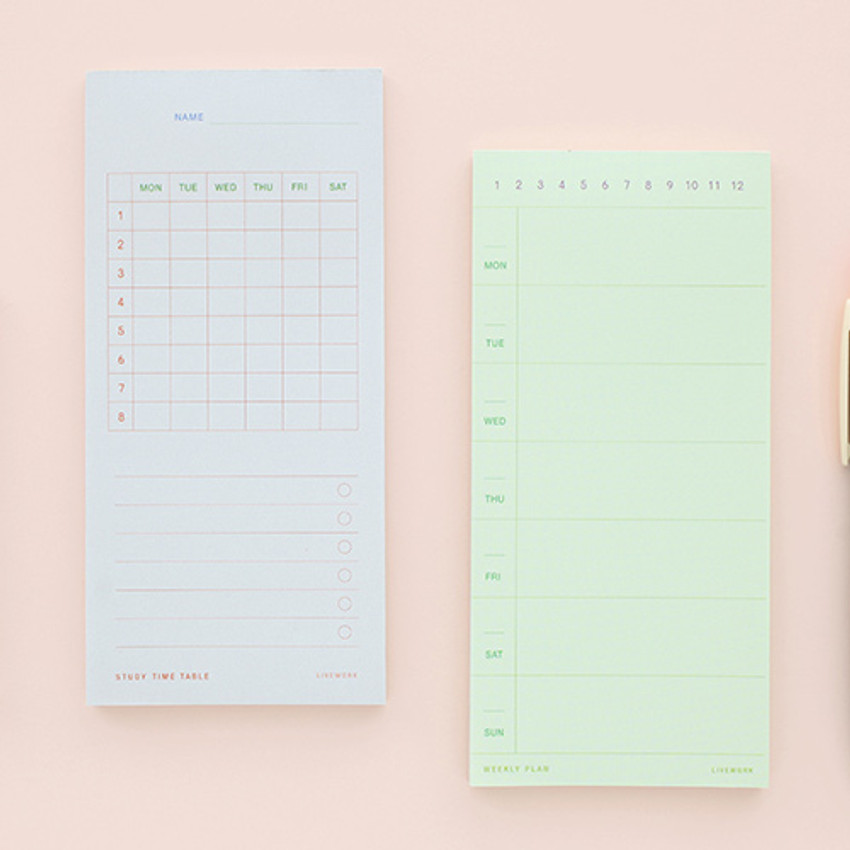 Memory planning notepad - study time table, weekly plan