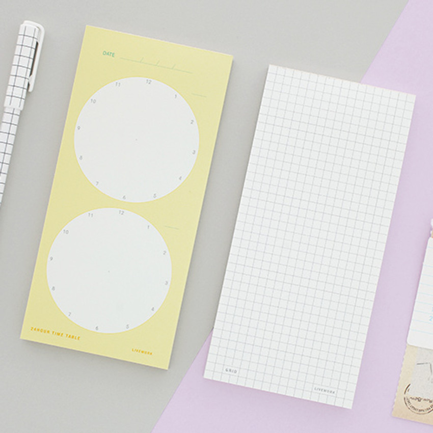 Memory planning notepad - grid, 24 time table
