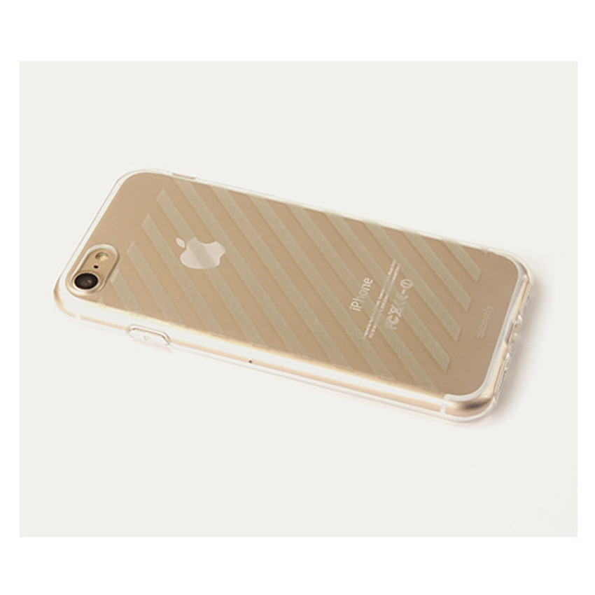 Detail of Leather sticker clear TPU jelly case for iPhone 6S