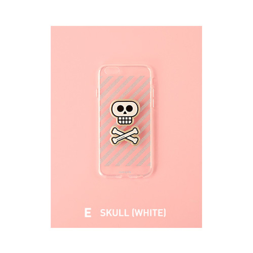 E - Skull(white) - Leather sticker clear TPU jelly case for iPhone 6S