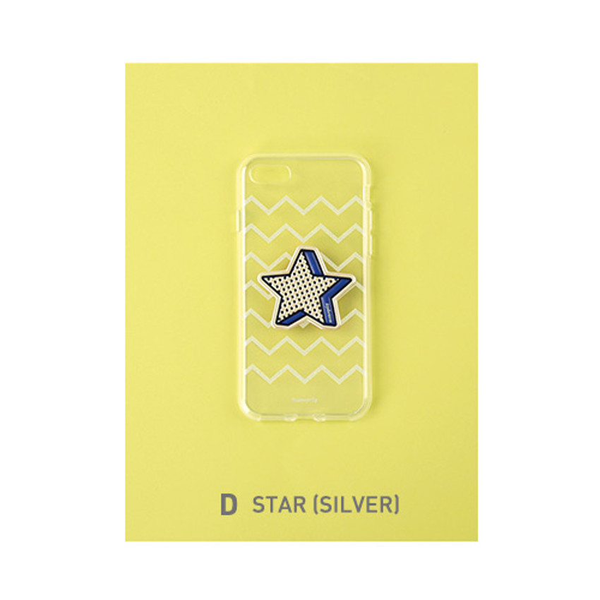 D - Star(Silver) - Leather sticker clear TPU jelly case for iPhone 6S
