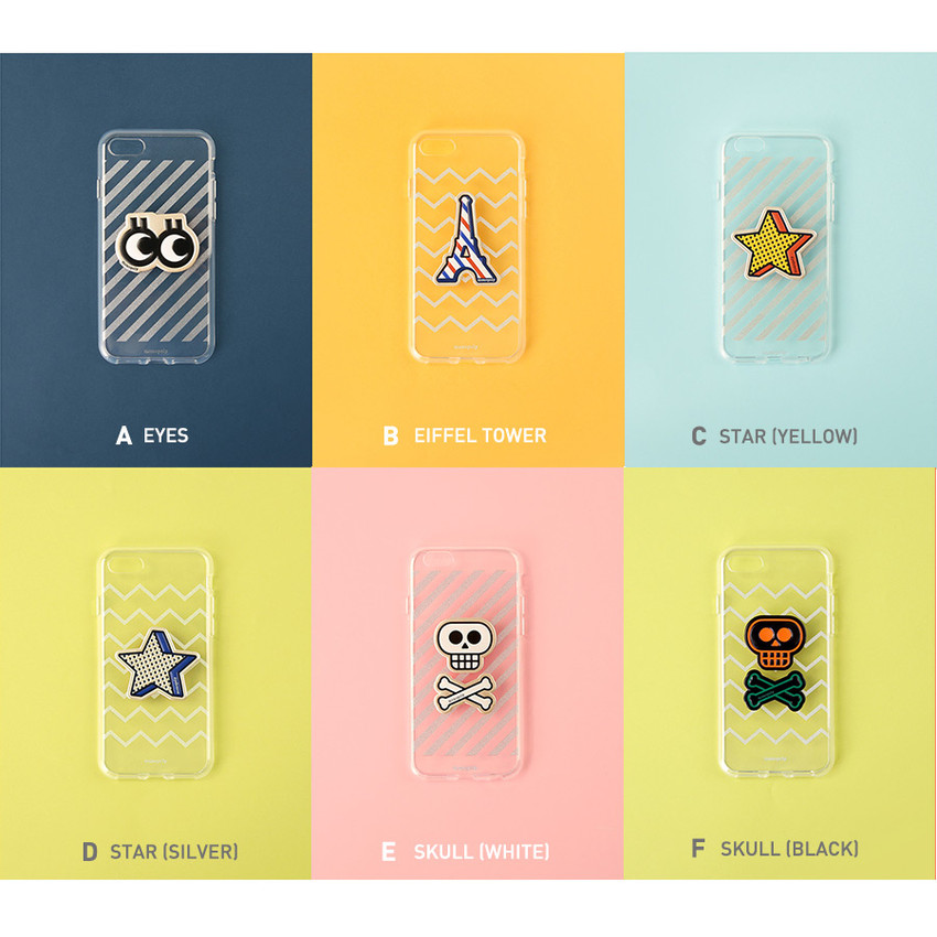Leather sticker clear TPU jelly case for iPhone 6S