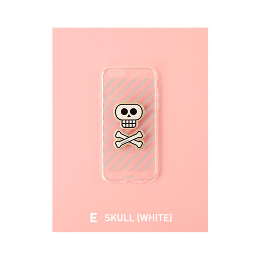 E - skull - Leather sticker clear TPU jelly case for iPhone 7