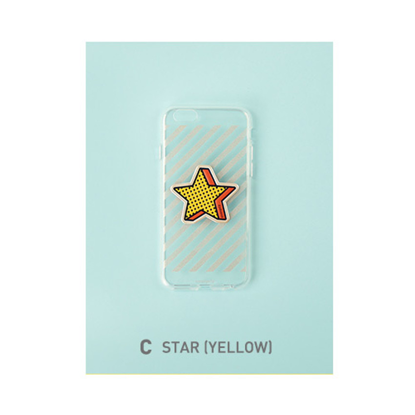 C - star - Leather sticker clear TPU jelly case for iPhone 7