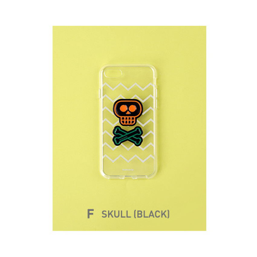 F - skull - Leather sticker clear TPU jelly case for iPhone 7