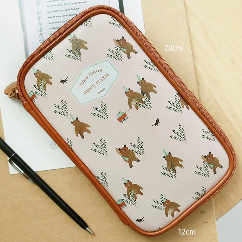 Size - Indigo Willow story pattern zip around pencil case pouch