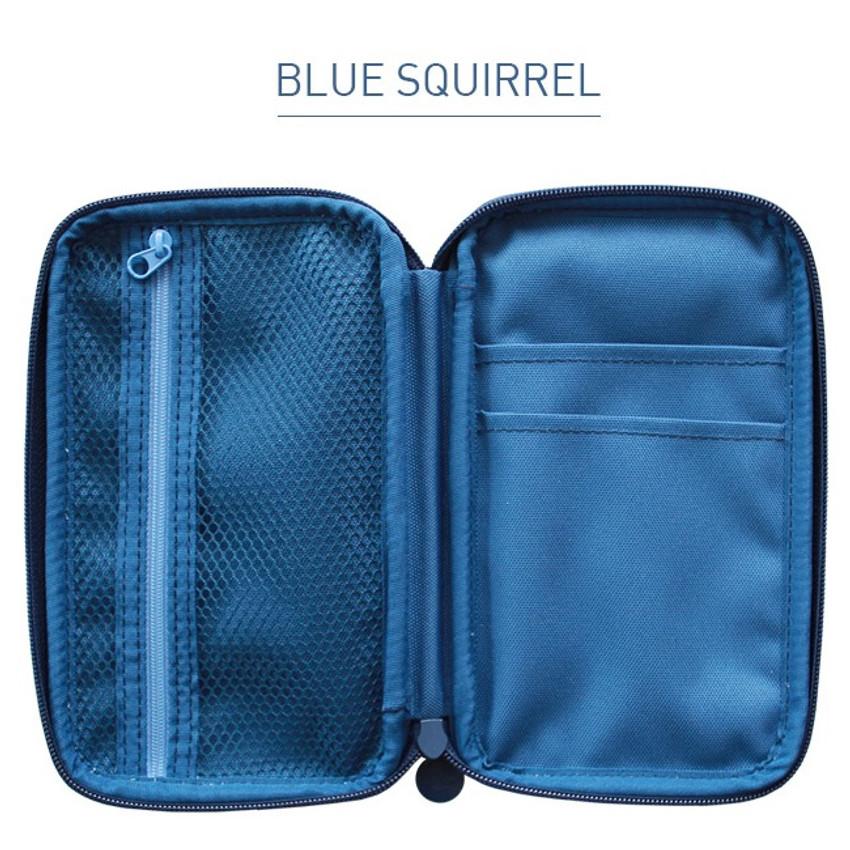 Blue squirrel - Indigo Willow story pattern zip around pencil case pouch