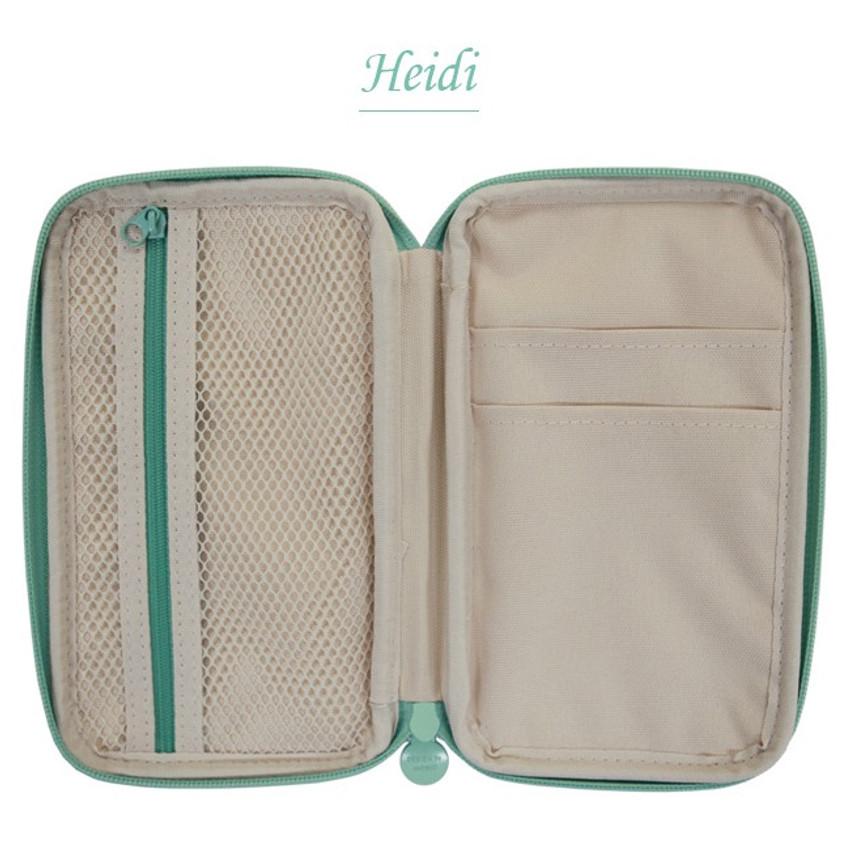Heidi - Indigo Classic story illustration zip around pencil case pouch