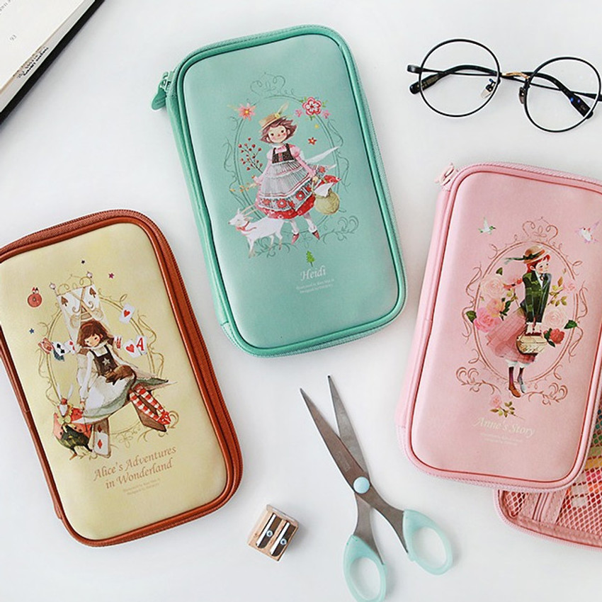 Classic story illustration zip around pencil case pouch