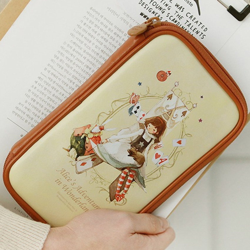 Alice - Indigo Classic story illustration zip around pencil case pouch