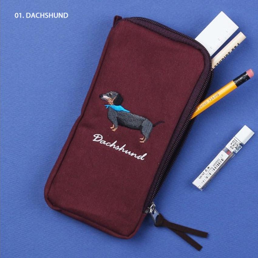 Dachshund - Wanna This Tailorbird half zip around slim multi pouch