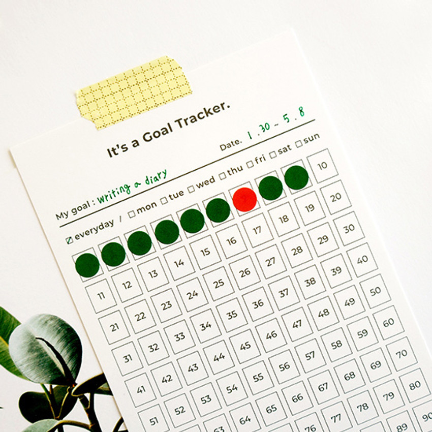 100 days goal planning tracker 12 sheets