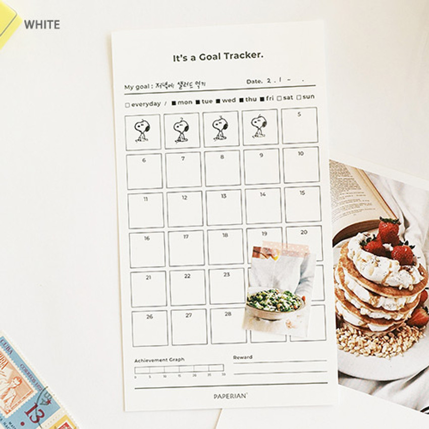 White - 30 days goal planning tracker 12 sheets