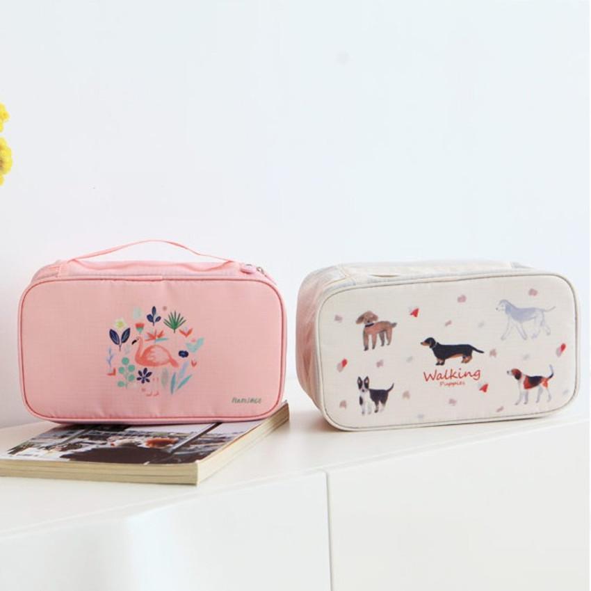 Peach, Ivory - Rim travel underwear and bra pouch bag