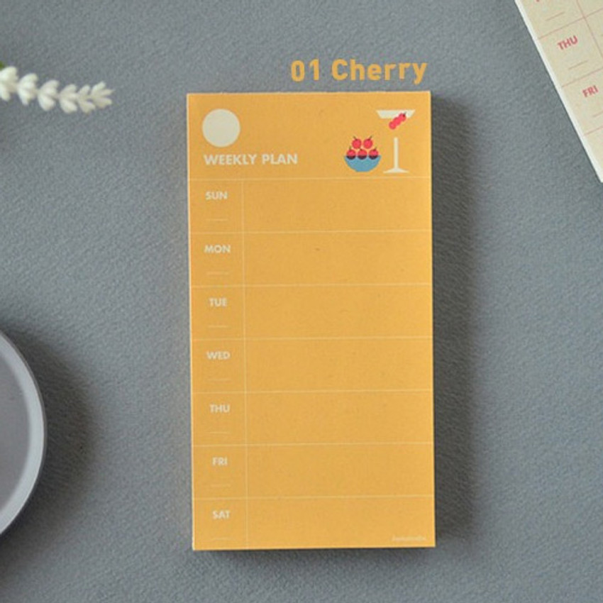 Cherry - Jam studio Jam undated weekly planner notepad