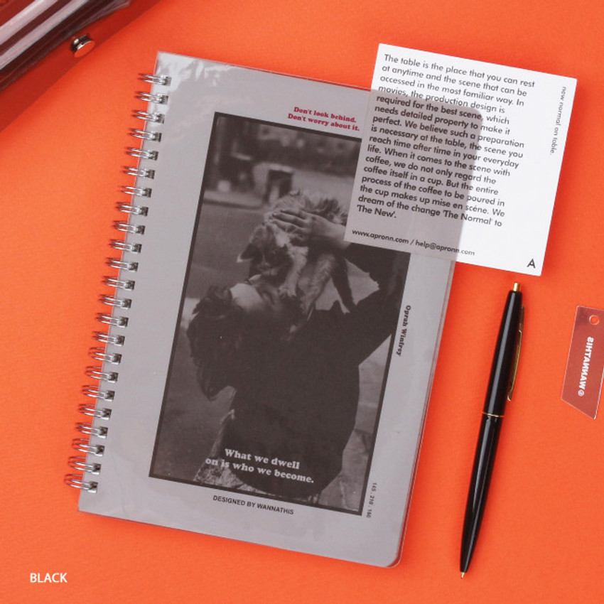 Black - Wanna This Clear spiral lined notebook