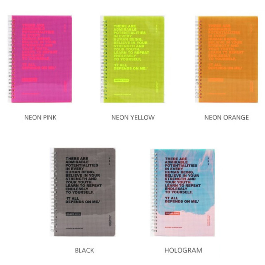 Color - Wanna This Clear spiral grid notebook