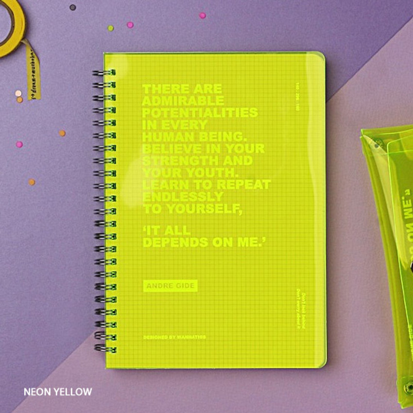 Neon yellow - Wanna This Clear spiral grid notebook