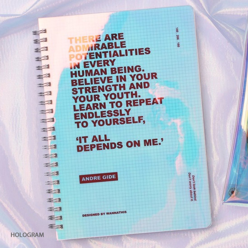 Hologram - Wanna This Clear spiral grid notebook