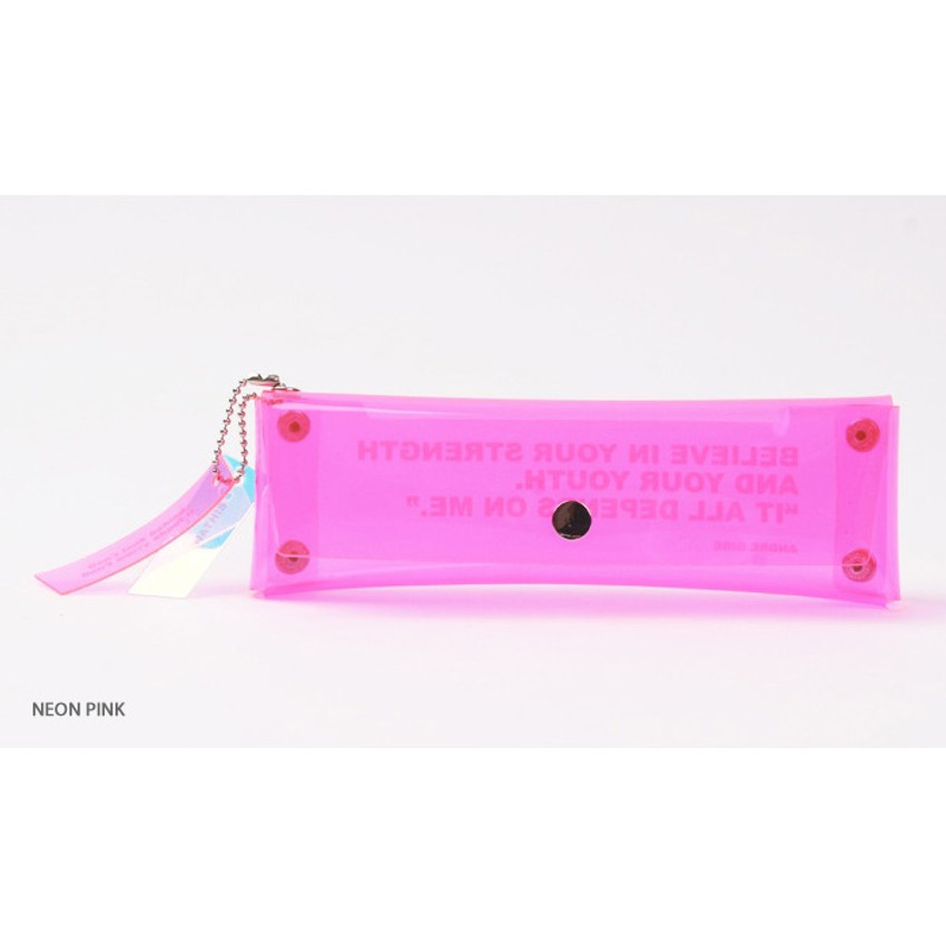Neon pink - Wanna This Clear pocket folding pencil case pouch