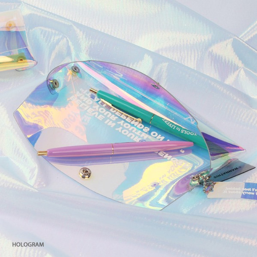 Hologram - Wanna This Clear pocket folding pencil case pouch