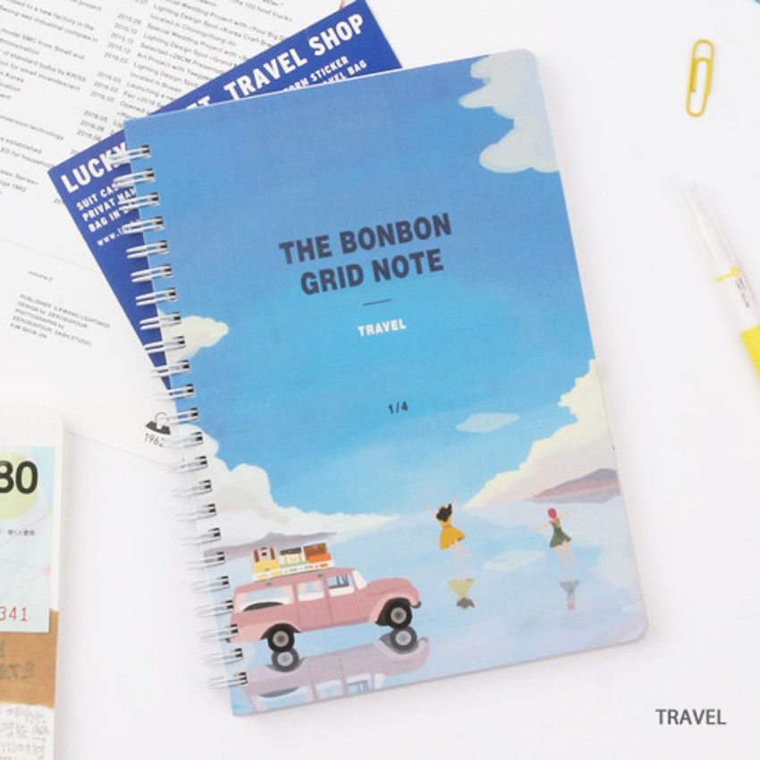 Travel - Wanna This The Bon Bon illustration spiral grid notebook