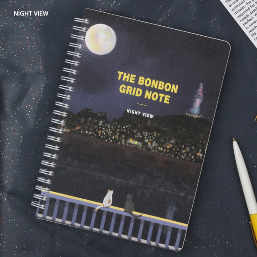 Night view - Wanna This The Bon Bon illustration spiral grid notebook