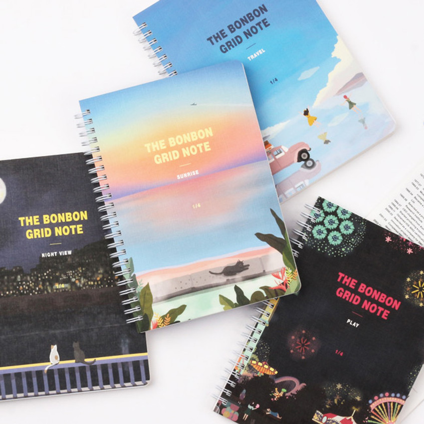Wanna This The Bon Bon illustration spiral grid notebook