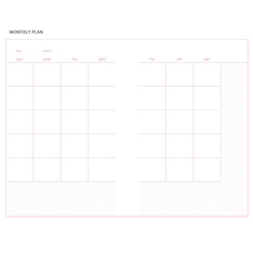 Monthly - N.IVY Pink 100 days spiral study planner