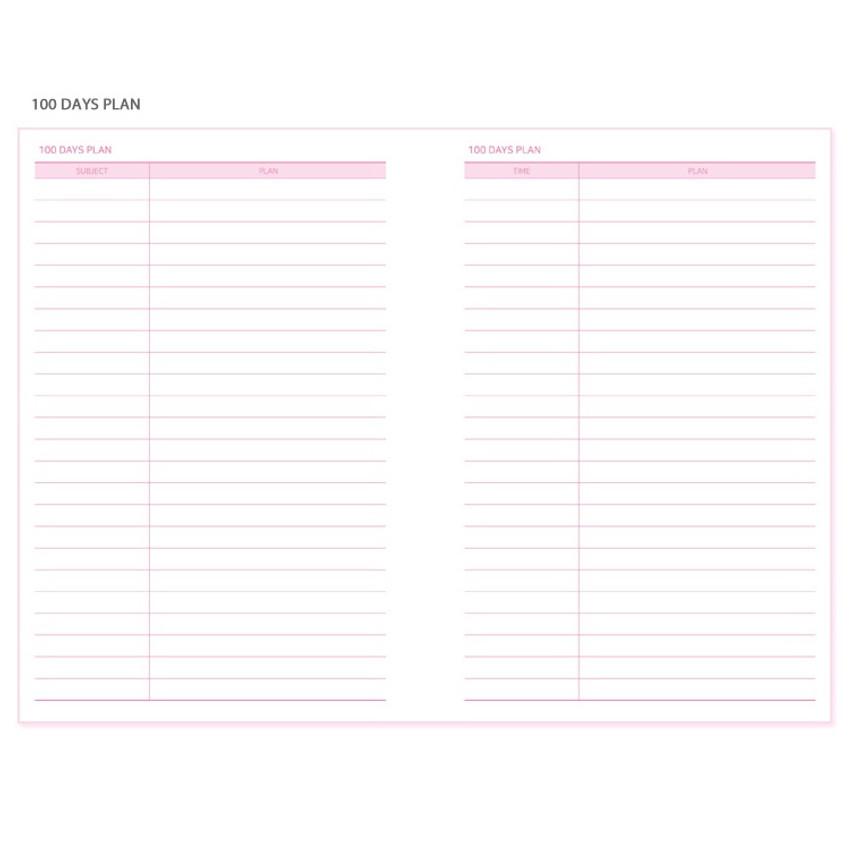 100 days plan - N.IVY Pink 100 days spiral study planner