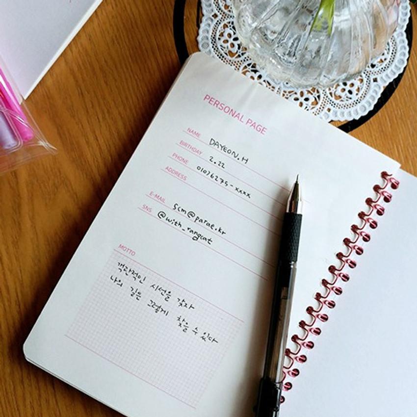 Personal data - N.IVY Pink 100 days spiral study planner