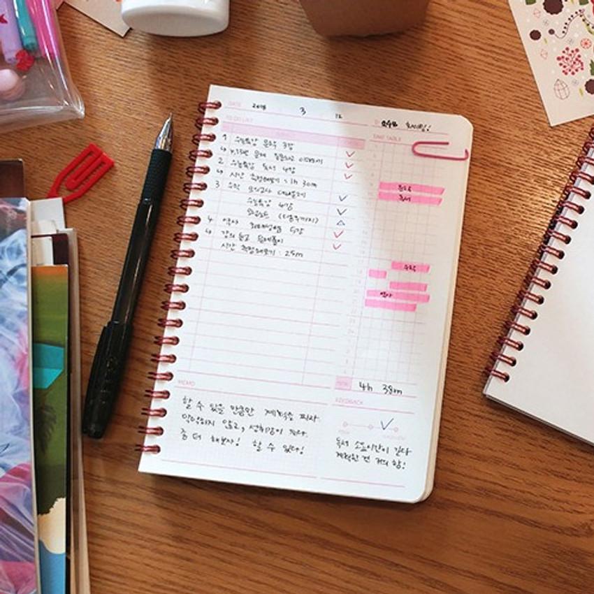 Daily plan - N.IVY Pink 100 days spiral study planner