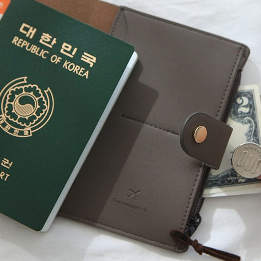 Gray - Think about W passport case wallet with zipper pocket