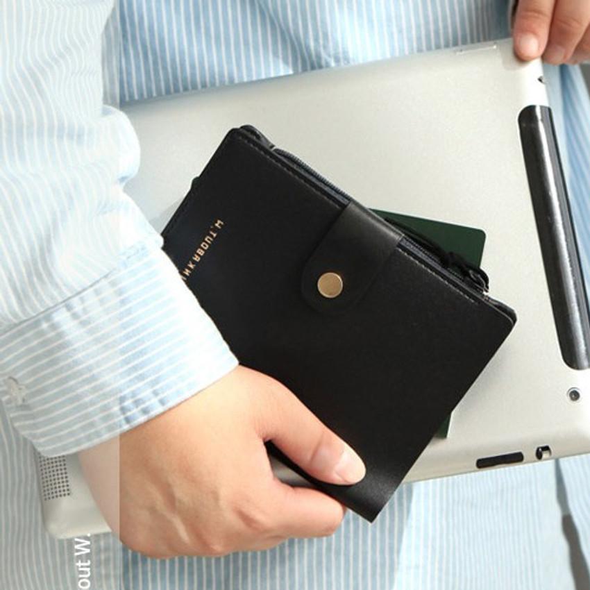 Black - Think about W passport case wallet with zipper pocket