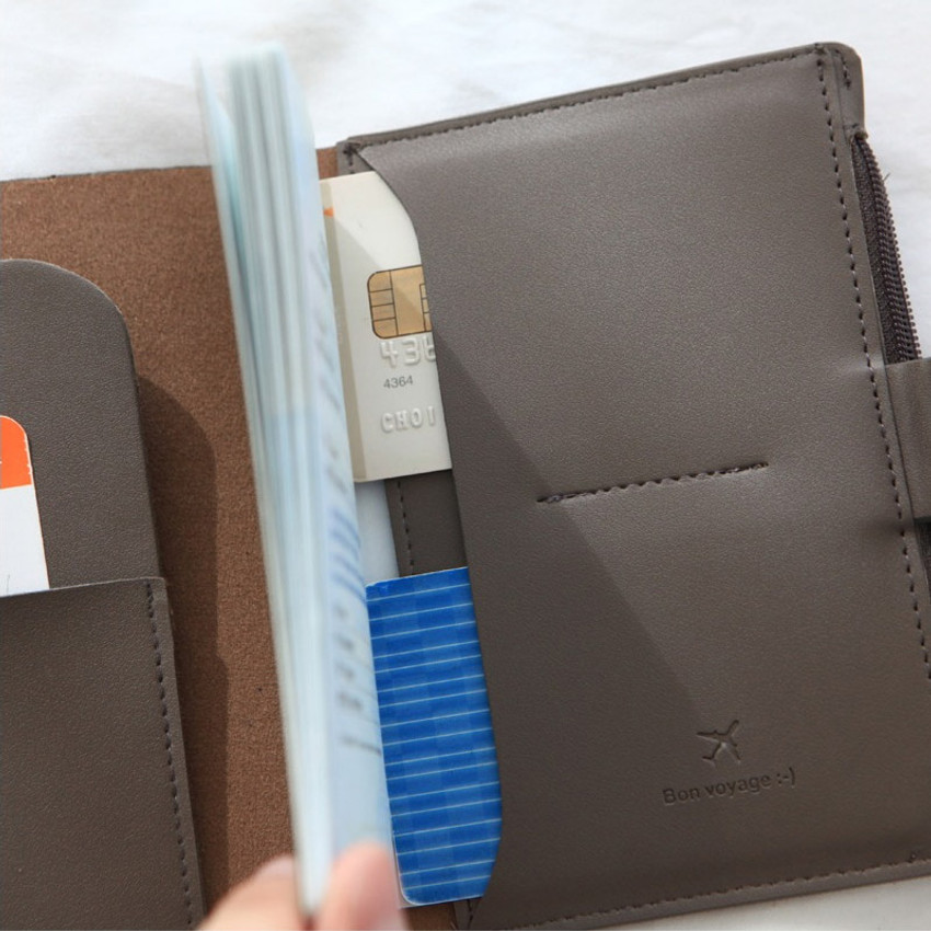 Detail of Think about W passport case wallet with zipper pocket