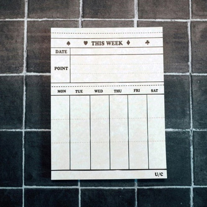 Universal condition Vintage this week undated weekly planner notepad