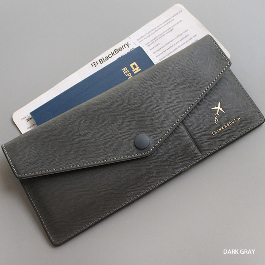 Dark gray - Think about W soft envelope passport case