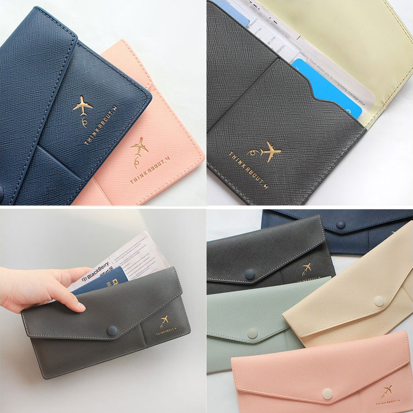 With Alice Think About W Soft Envelope Passport Case Wallet