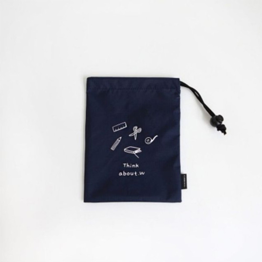 Navy - Think about W small drawstring pouch