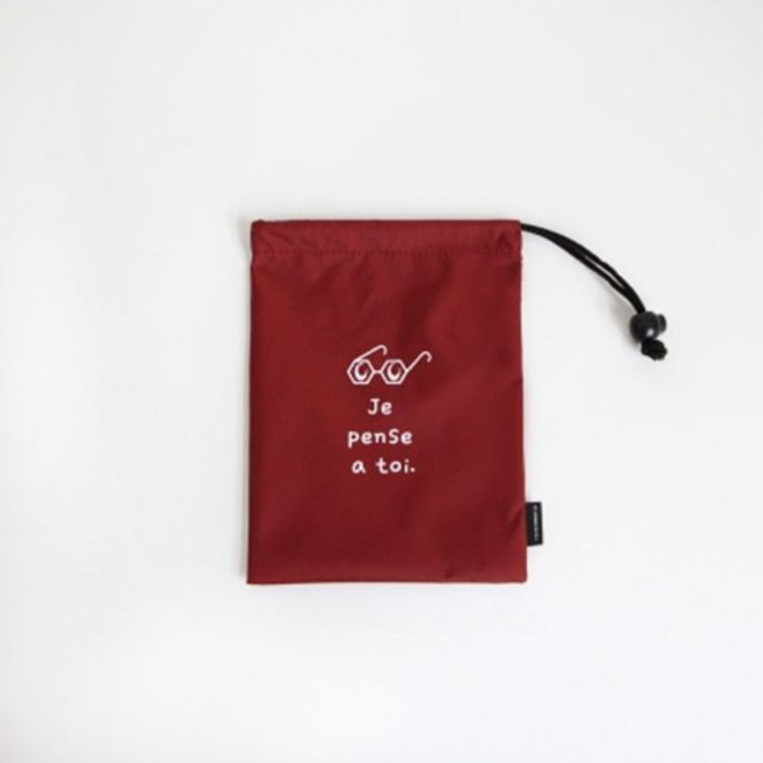 Burgundy - Think about W small drawstring pouch